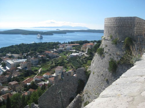 The view from Spanjola fort on Hvar Island, Croatia