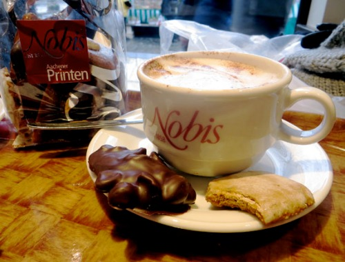 Cappuccino and Printen at Nobis cafe in Aachen, Germany
