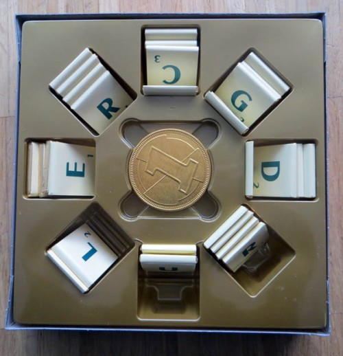 Chocolate Scrabble, inside the box