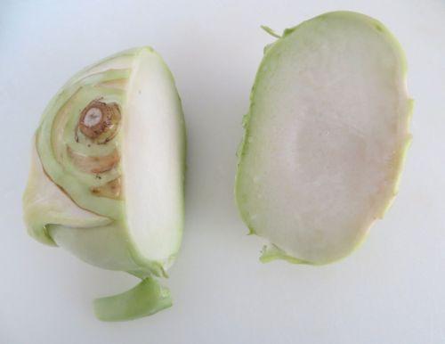 Kohlrabi in half