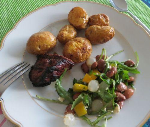 Salad, steak, potatoes