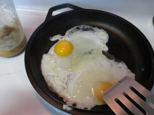 Fried eggs in bacon grease