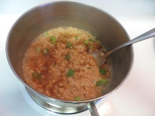 Oatmeal with scallions