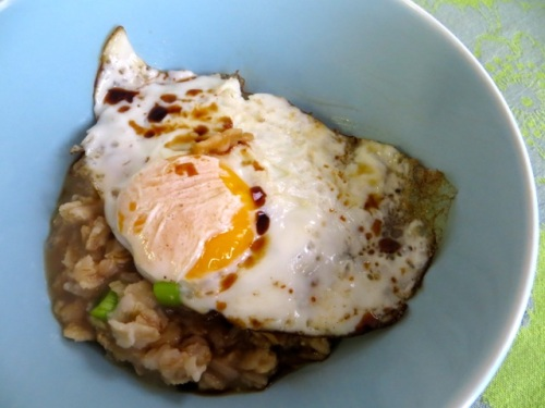 Fried egg on oatmeal